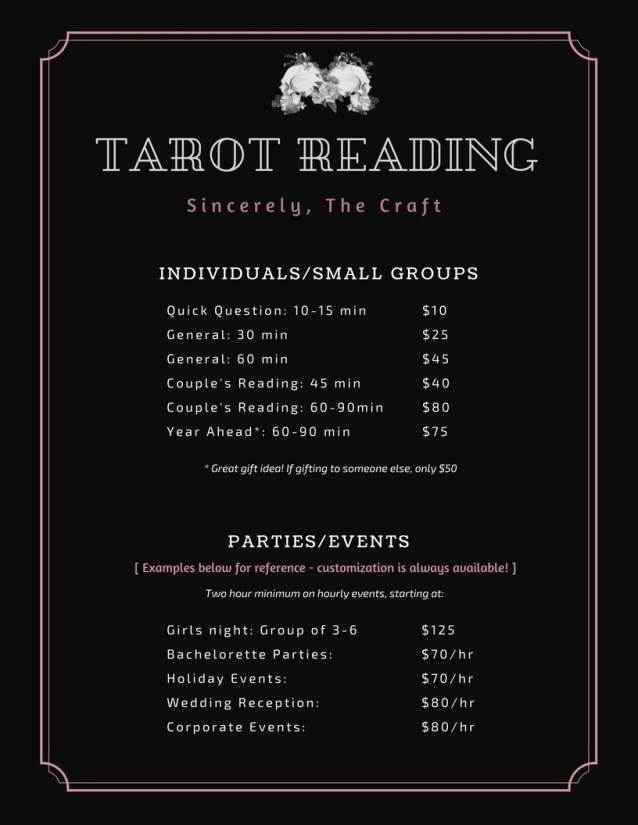 Black tarot reading price list
